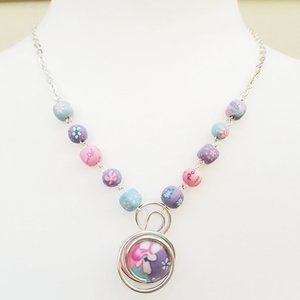 Viva Clay Beads Floral Wire Wrap Handmade Necklace
